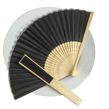 BalsaCircle Decorative Silk Fabric Folding Hand Fans Wedding Favors - Party Favors Decorations Supplies