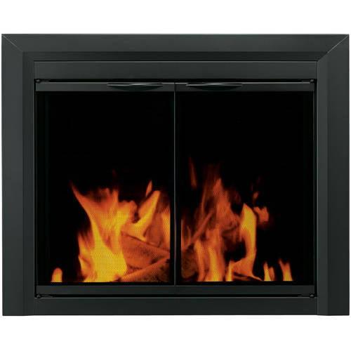 Pleasant Hearth Deerfield Cabinet Style Fireplace Glass Door, Midnight Black, DE-4000