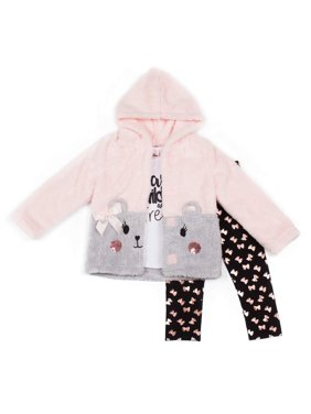 Little Lass Sherpa Jacket, Long Sleeve Top & Printed Leggings, 3pc Outfit Set (Baby Girls & Toddler Girls)