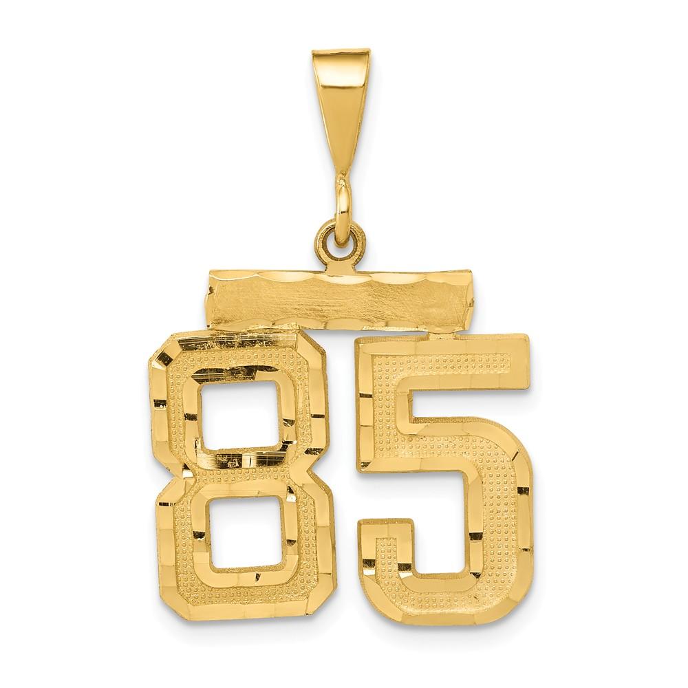 14k Medium Diamond-cut Number 85 Charm
