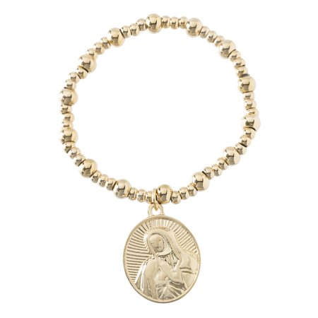 Ip Plated Bracelet (Women's Polished Virgin Mary Charm Beaded Stretch Bracelet in Yellow Gold IP Plated Stainless)