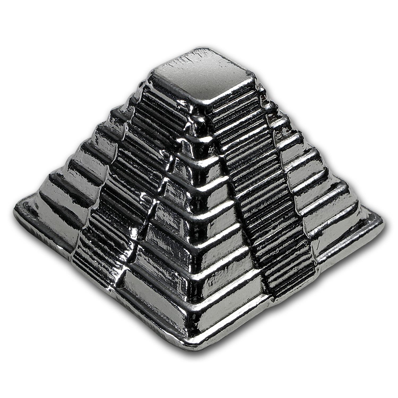1 kilo Hand-Poured Silver - 3D Aztec Pyramid
