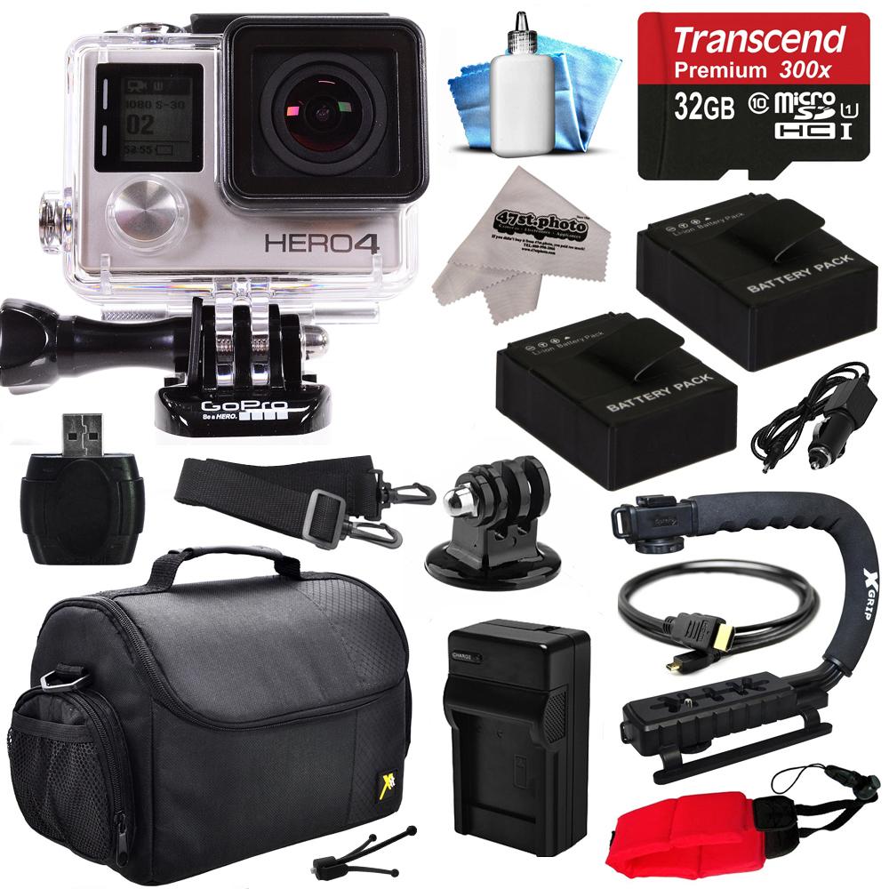 Camara De Video Videocámara GoPro HERO4 héroe 4 negro edición 4 K acción cámara con Kit de accesorios de principiante de 32GB con tarjeta MicroSD, 2 pilas, cargador, caja grande, agarre, HDMI, lector de tarjetas, limpieza Kit (CHDHX-401) + gopro en VeoyCo