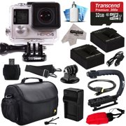 GoPro HERO4 Hero 4 Black Edition 4K Action Camera Camcorder with 32GB Beginner Accessories Kit with MicroSD Card, 2x Batteries, Charger, Large Case, Grip, HDMI, Card Reader, Cleaning Kit (CHDHX-401)