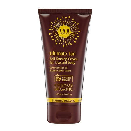 Deep Tanning Dry Oil - Certified Organic Anti-Aging Self Tanning Lotion For Face & Body – Buildable Self Tan Medium to Dark – Reduces Wrinkles and Fine Line, Deep Hydration with Sunflower Seed Oil by Uni Organics