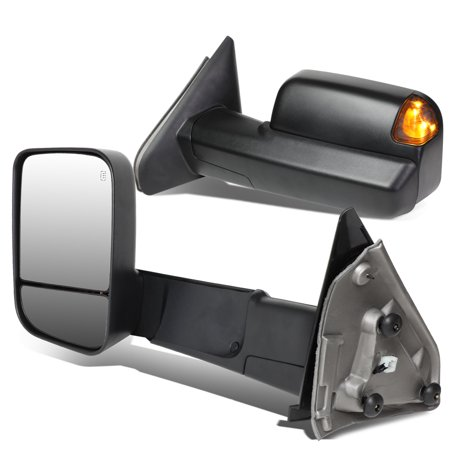 For 2002 to 2009 Dodge RAM Truck Left+Right Powered Side Towing Mirrors+Heated+Puddle Light