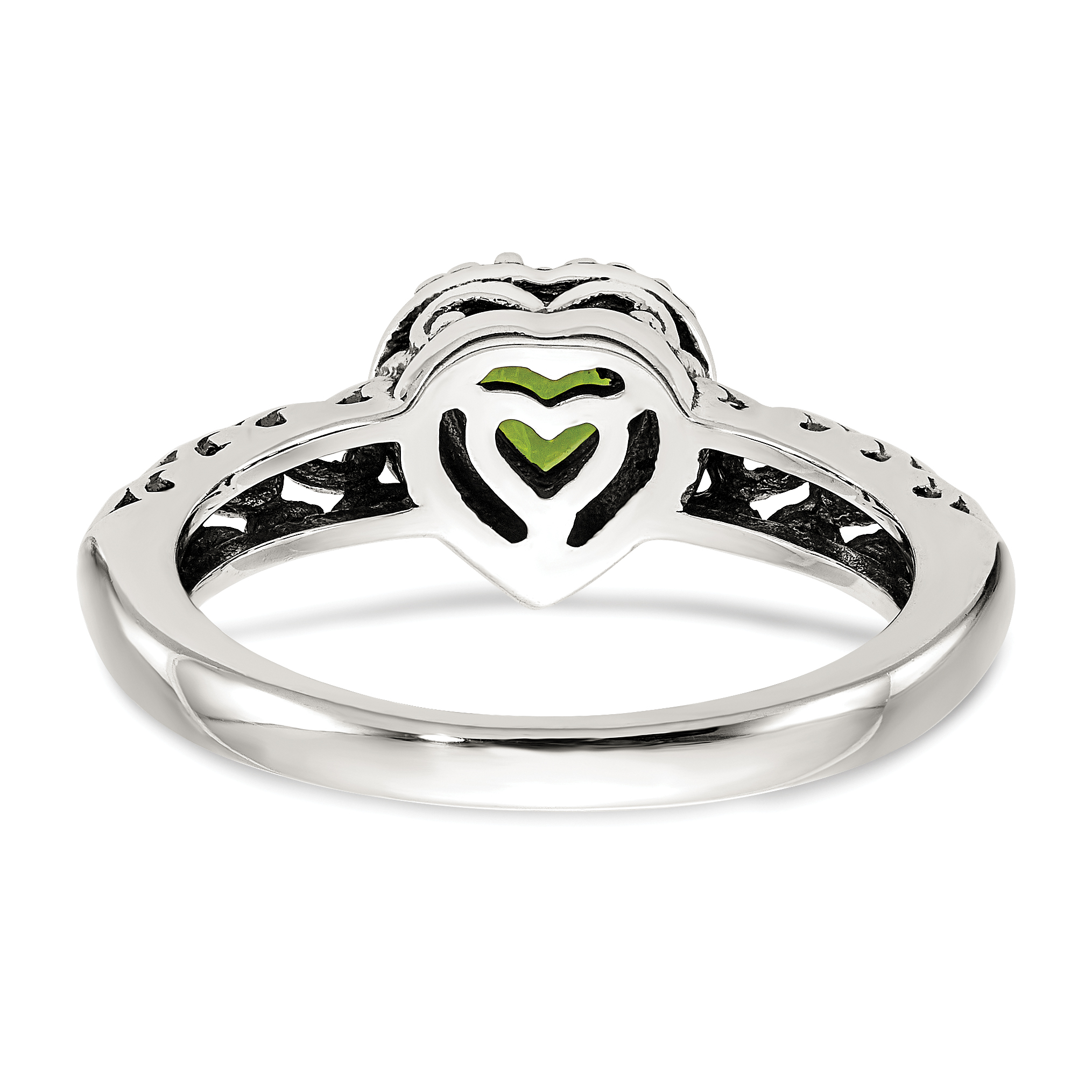 925 Sterling Silver 14k Green Peridot Band Ring Size 6.00 S/love Gemstone Fine Jewelry Gifts For Women For Her - image 3 de 6