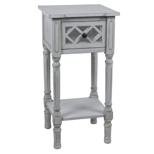Superieur Savitha Mirror End Table With Drawer
