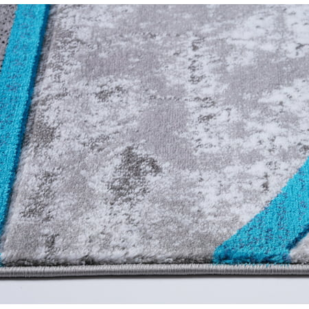 Ladole Rugs Dark Grey Gray Blue Turquoise Modern Geometric Area Rug Mat Carpet Runner for Living Bed room Entry way Patio Non Slip Size 3x5. 4x6 5 x 8 7 x 10, 9 by 12 11 feet ft - image 4 of 6