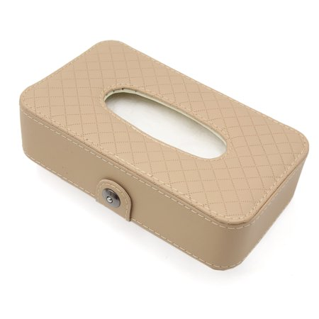 Car Beige Faux Leather Rhombus Pattern Napkin Paper Facial Tissue Box Holder