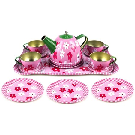 Flower Springtime Children's Kid's Full Metal Durable Pretend Play Toy Tea Set w/ Cups, Tea Pot, Plates, Tray (Styles May Vary)