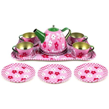 Plastic Tea Set - Flower Springtime Children's Kid's Full Metal Durable Pretend Play Toy Tea Set w/ Cups, Tea Pot, Plates, Tray (Styles May Vary)