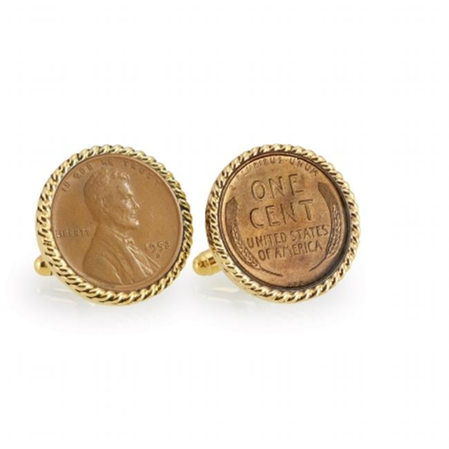 Lincoln Wheat-Ear Penny Cuff Goldtone Rope Bezel Coin Cuff Links