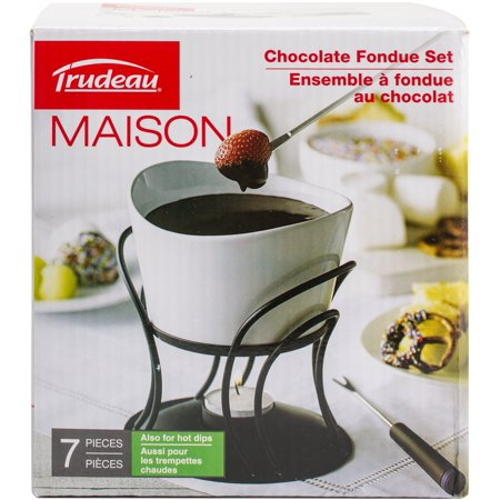 - Trudeau Maison Revolo Chocolate Fondue Set-White & Black