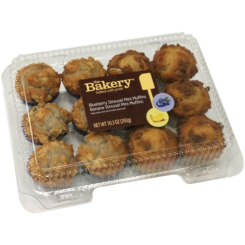 The Bakery Blueberry Streusel and Banana Streusel Mini Muffins, 12 ct, 10.3 oz