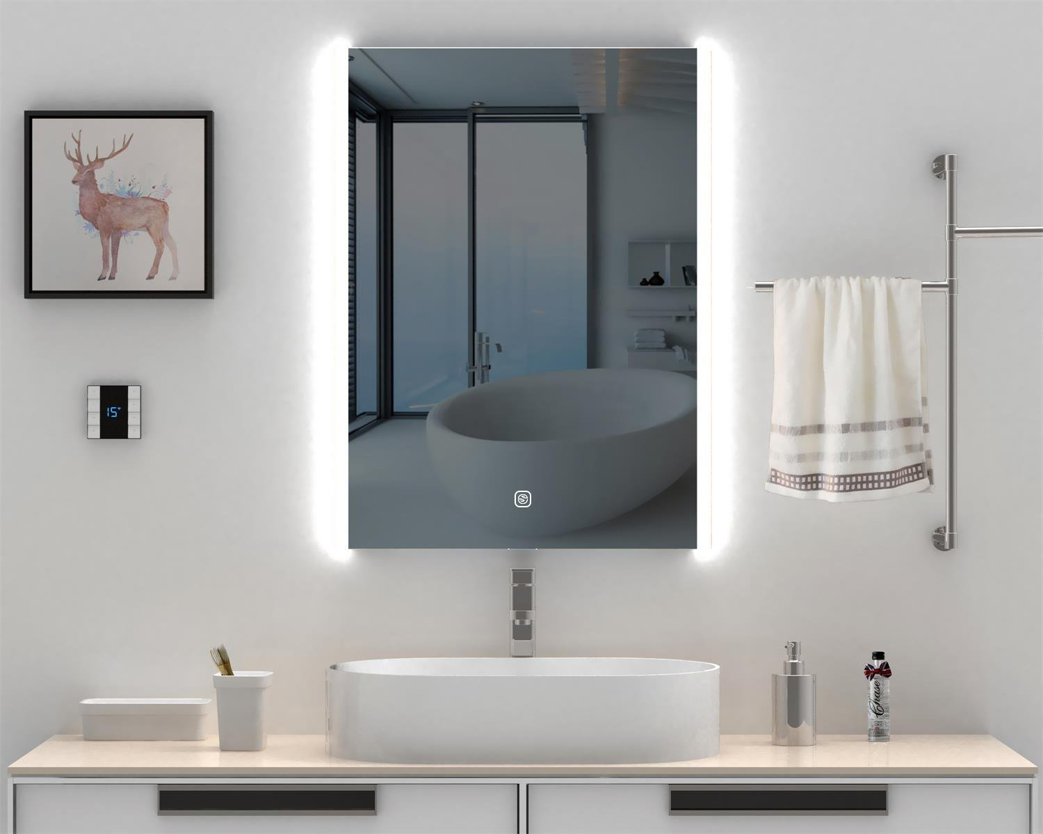 Heynemo Vanity Bathroom Silvered Anti-fog Mirror LED Lighted With ...