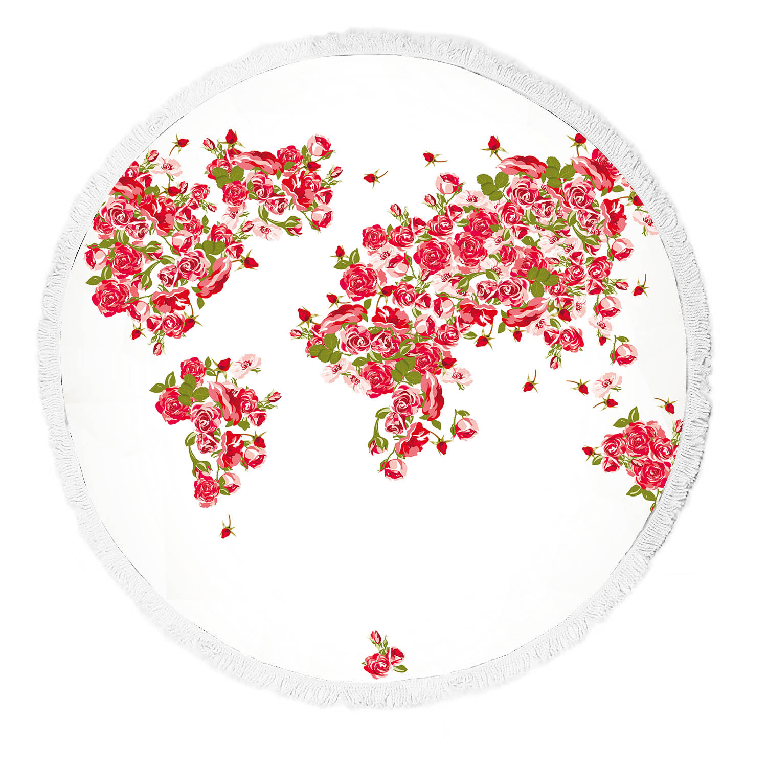YKCG Vintage Floral Rose World Map Red Pink Color Fabric Antique World Map Rose Flower Round Beach Towel Beach Mats Beach Shawl Beach Blanket with Tassels Beach Throw Towel Yoga Mat