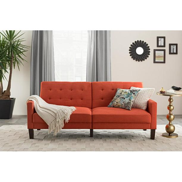 Better Homes & Gardens Porter Fabric Tufted Sofa Bed, Rust Orange Linen