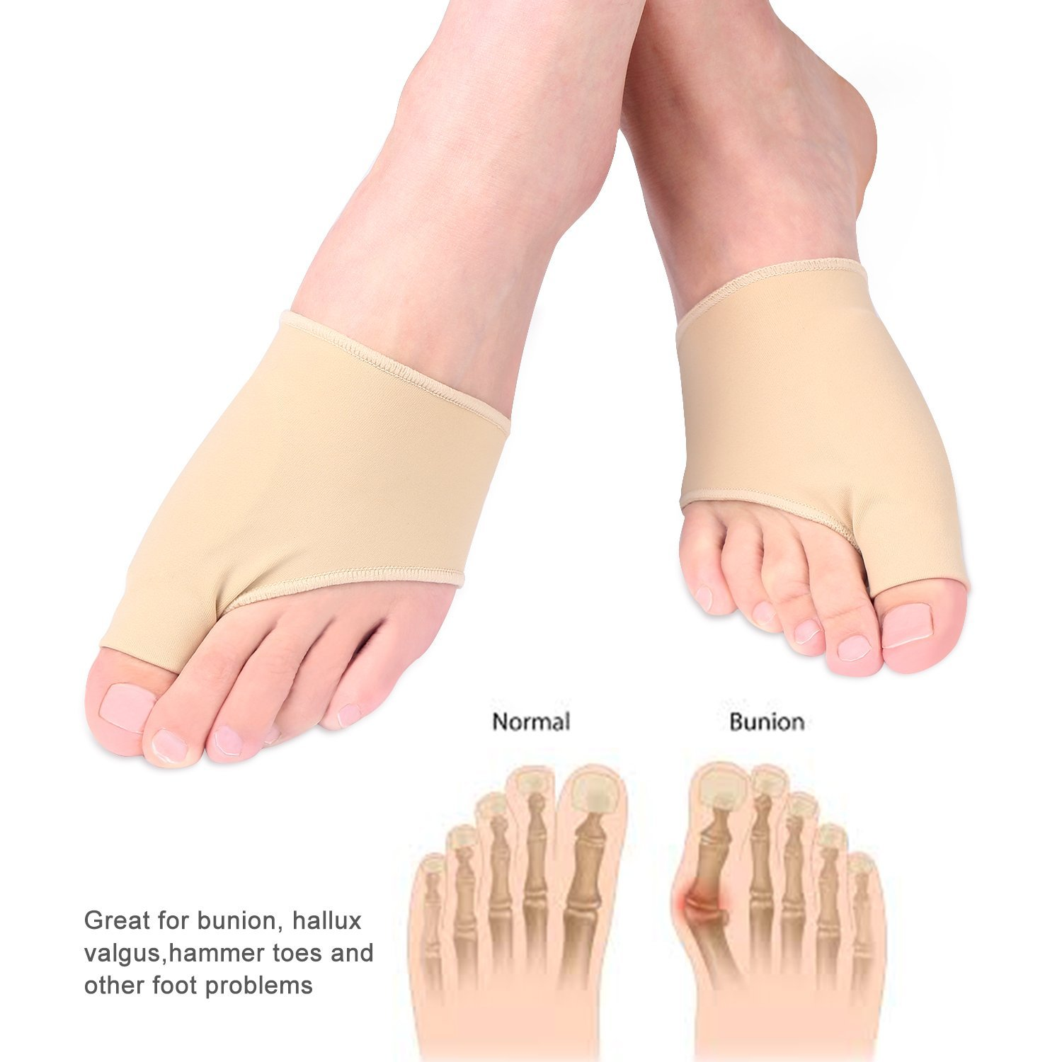 1 Pair Gel Pad Bunion Protector Sleeves Corrector Pad with Gel Toe Separators Spacers Straightener For Hallux Valgus Bunion Pain Relief Proper Big Toe Alignment Wear with Shoes