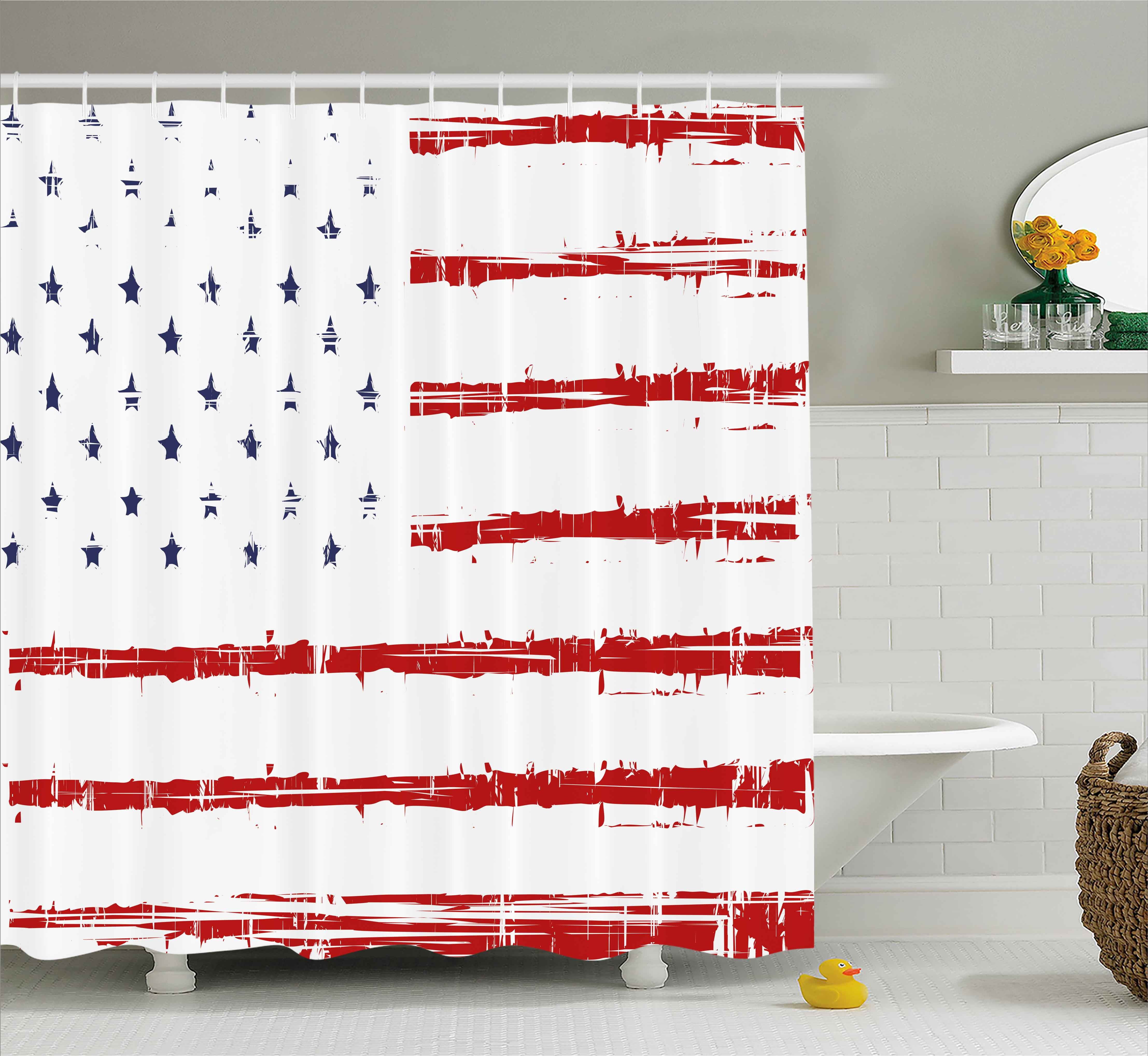 American Shower Curtain, Vector Grunge Texture Flag of United States of America Illustration Print, Fabric Bathroom Set with Hooks, 69W X 70L Inches, Blue White and Red, by Ambesonne