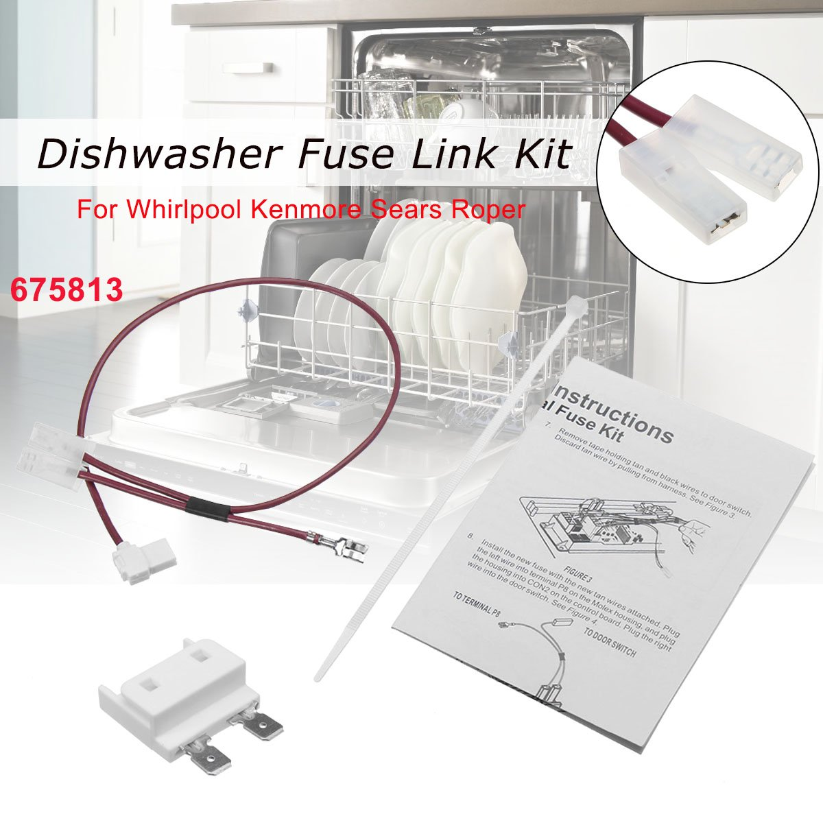 675813 for whirlpool kenmore dishwasher thermal fuse link for door switch    walmart canada