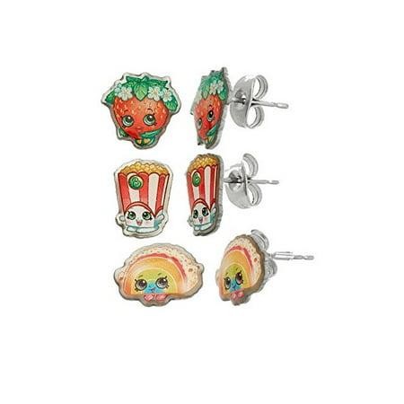 Shopkins Stainless Steel Trio Earrings Set Strawberry Kiss , Poppy Corn , Rainbow Bite + Schick Slim Twin ST for Sensitive Skin