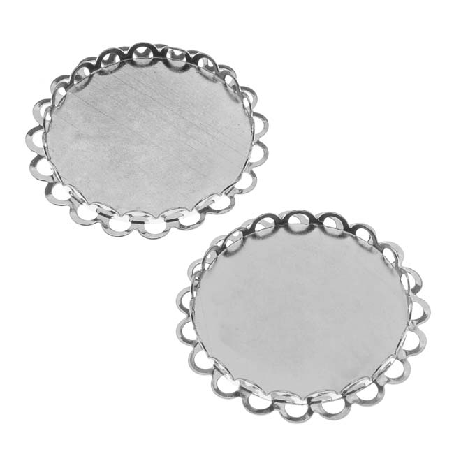 Silver Tone Round Bezel Cup Cabochon Setting 26mm (2)