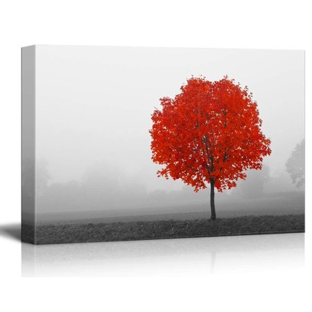 wall26 - Canvas Wall Art - Pop Color of Red Tree on Black and White Landscape - Giclee Print Gallery Wrap Modern Home Decor Ready to Hang - 32x48 inches ()