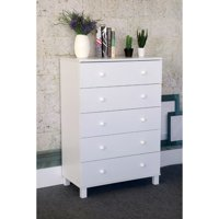 Gleaming White Finish Chest With 5 Drawers On Metal Glides.