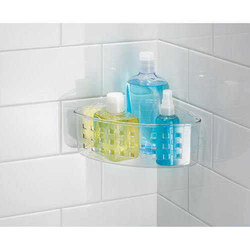 InterDesign Bathroom Shower Suction Corner Basket for Shampoo, Conditioner, Soap, Clear