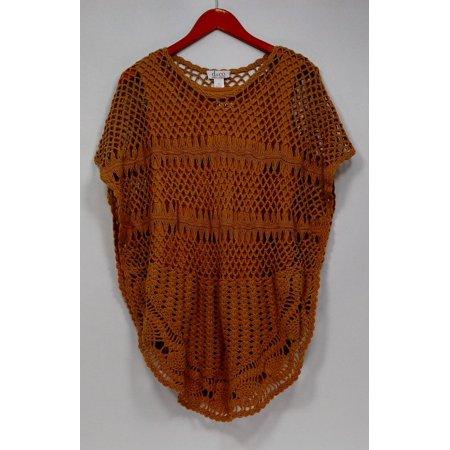 Denim & Co. Sweater Sz XS Novelty Stitch Poncho w/ Knit Tank Brown (Denim Poncho)