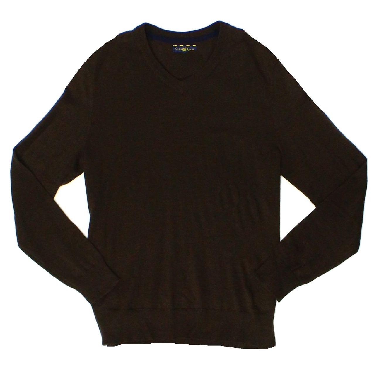 Club Room NEW Brown Coffee Bean Mens Size XL V-Neck Wool Sweater