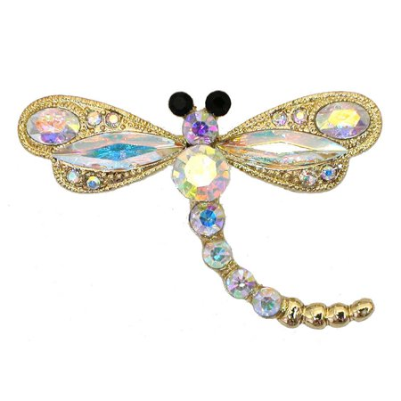 Gorgeous Crystal Dragonfly Pin Brooch - MultiColored ()