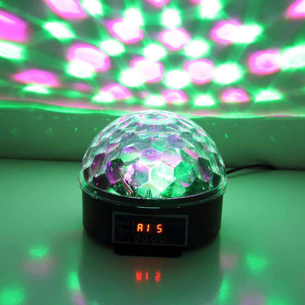 6Colors LED Crystal Magic Ball Effect Light Disco ball DJ Stage Party laser led Sound activated disco light cheap led... by