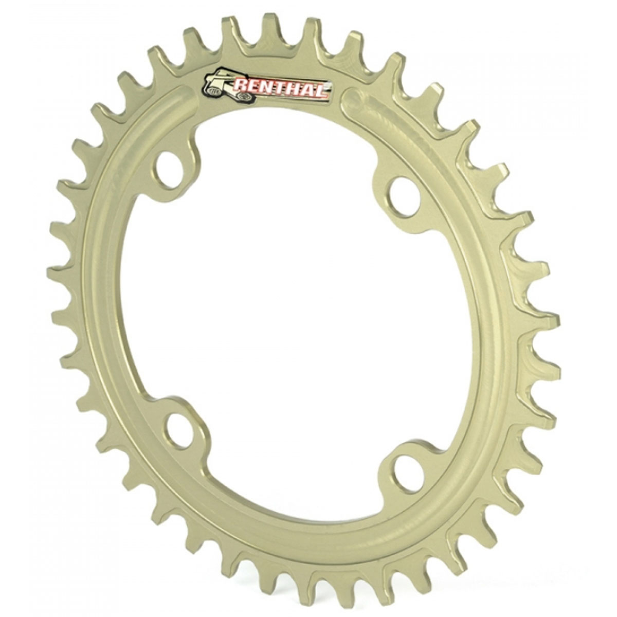 Renthal 1XR 104mm Retaining Aluminum Bicycle Chainring - 38T, 9-11sp, BCD: 104 - Gold - MCR107-564-38PHA