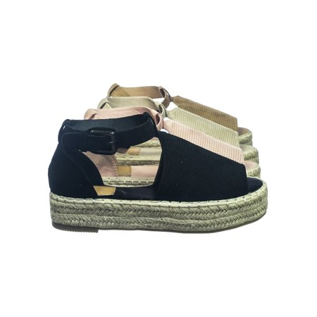 Moira40 by Bella Luna, Espadrille Jute Rope Wrap Platform Flatform Perforated Sandal