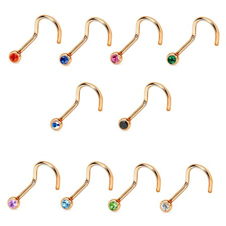 Crystal Purple Navel Ring (Nose Screw ring Rose Gold IP Over Surgical Steel 18G/20G Press Fit Gem)