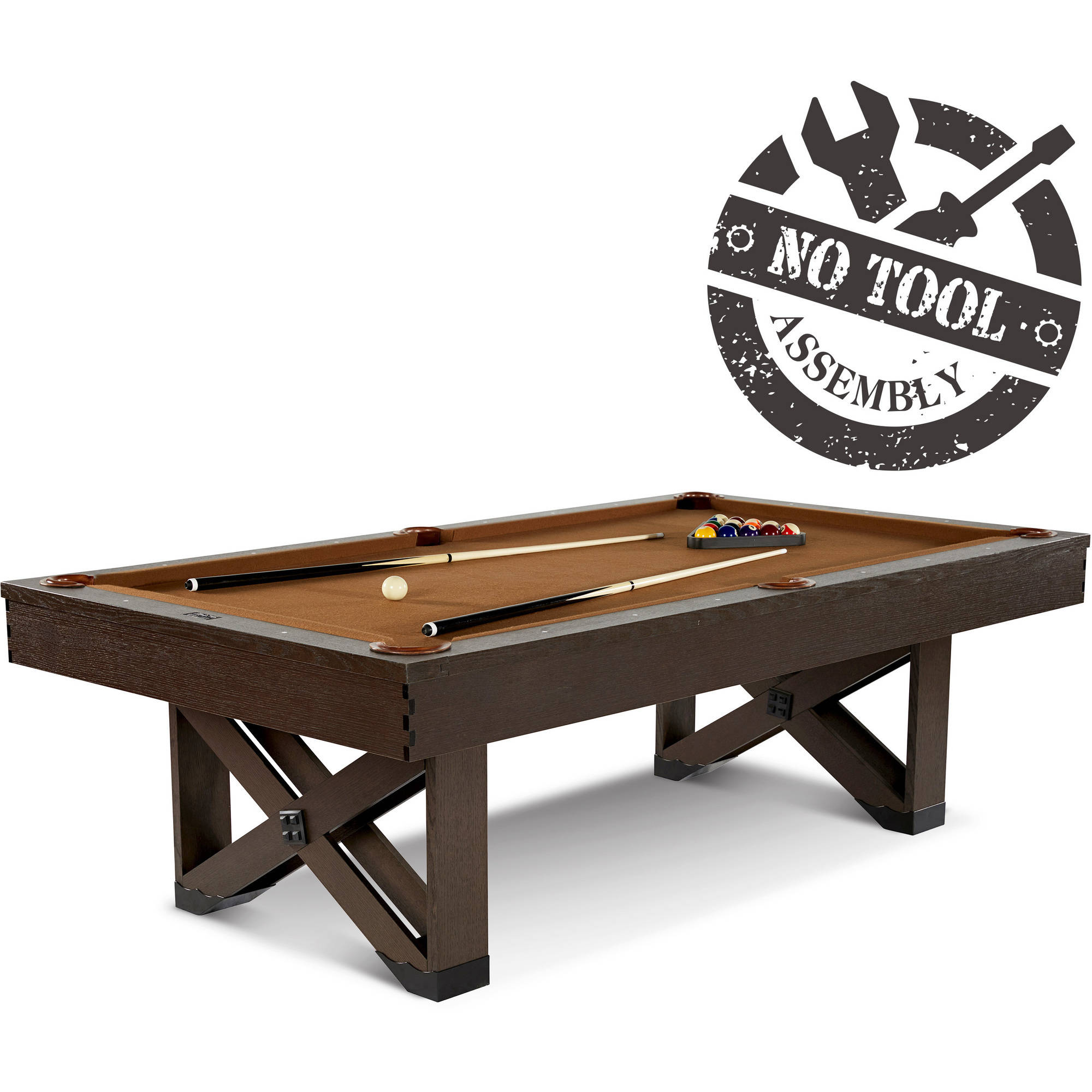 Barrington 8 Ft. Fremont Collection Billiard Table with Cue Set and Accessory Kit, No Tools Assembly