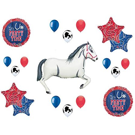 Western Theme Birthday Party Supplies Bandana Hoedown Rodeo Balloon Bouquet Decorations with White Horse - Western Hoedown