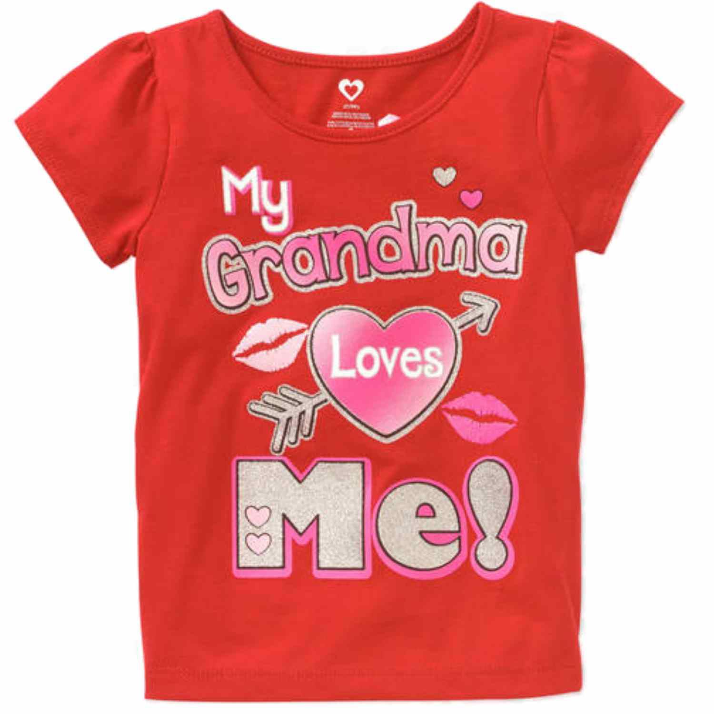 Product Image Toddler Girls Red Glitter My Grandma Loves Me Valentines T Shirt Tee Shirt