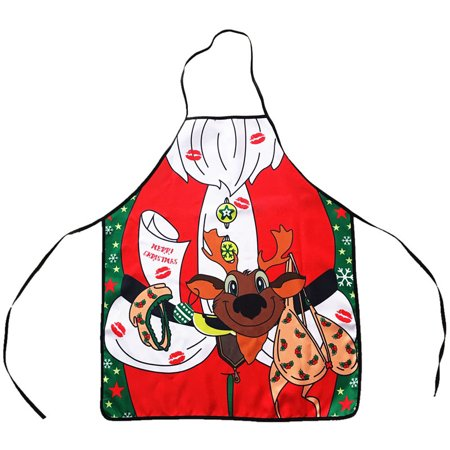 Christmas Funny Apron Reindeer Bib Apron for Kitchen Party Creative Gift-23.6