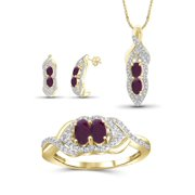2.00 Carat T.G.W. Ruby And White Diamond Accent 14K Gold over Silver 3-Piece Jewelry set