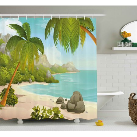 Tropical Shower Curtain Exotic Beach With Coconut Palm Trees And Rocks Journey Oceanic Coastal Design