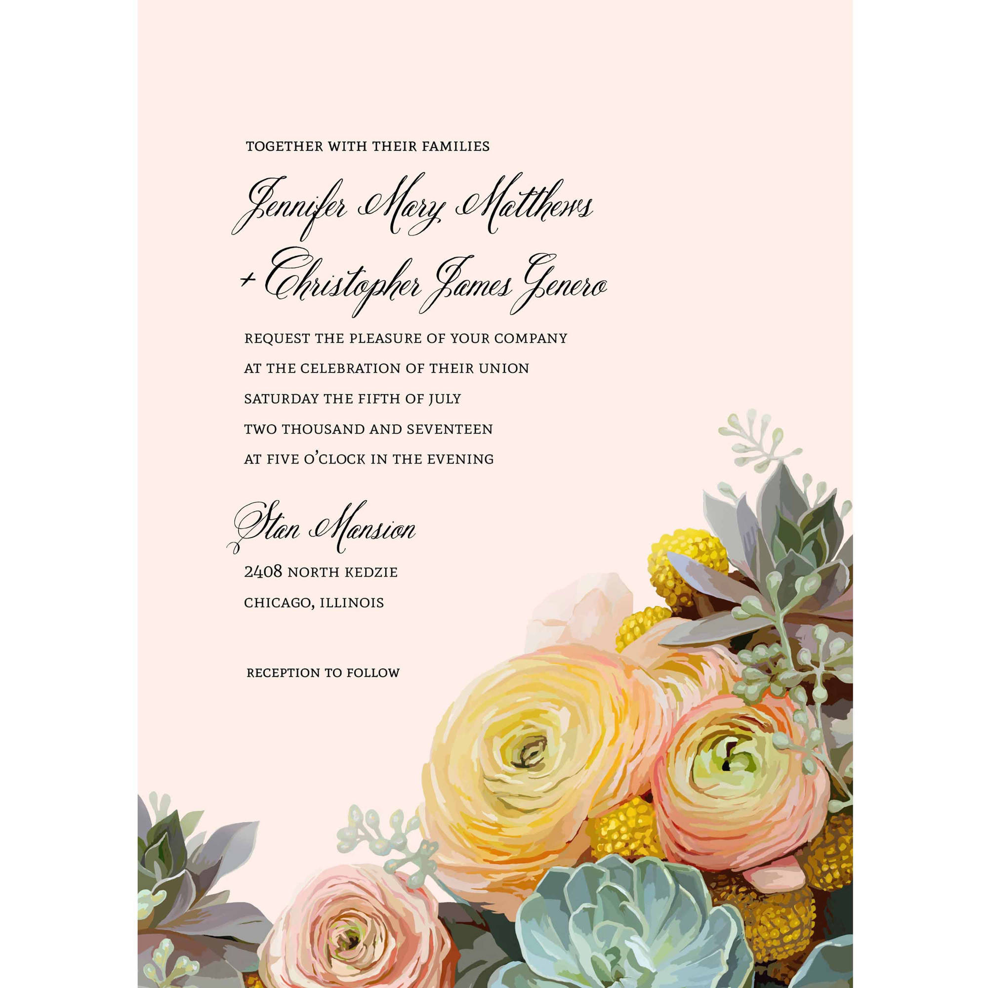 Bouquet Standard Wedding Invitation