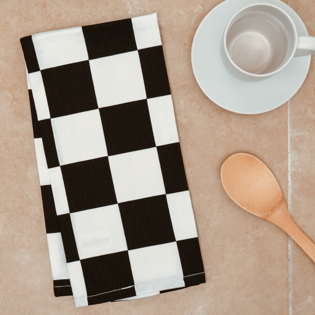 Black & White Checker Board Kitchen Towels 2 pack by Linen Tablecloth