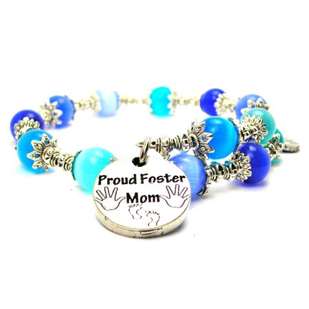 Circle Birthstone Charm - Chubby Chico Charms Proud Foster Mom Circle Cat's Eye Wrap Charm Bracelet in Sapphire Blue and Aqua Blue