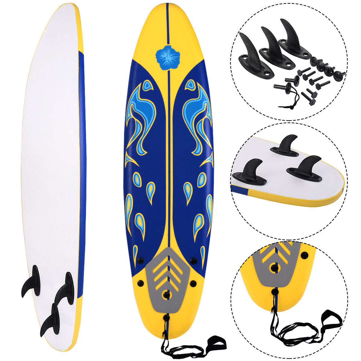 Click here to buy Goplus 6' Surfboard Surf Foamie Boards Surfing Beach Ocean Body Boarding Yellow by Goplus.