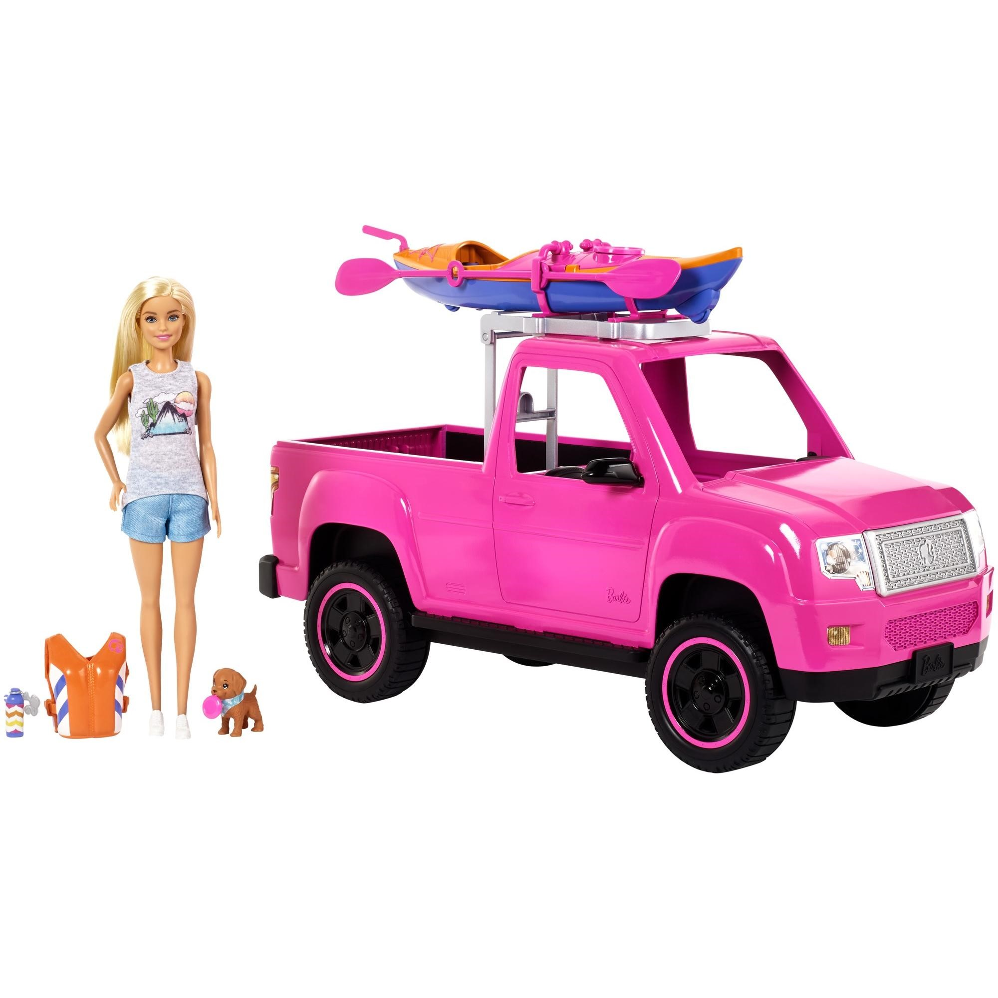 Barbie Camping Fun Doll, Pink Truck and Sea Kayak Adventure Playset