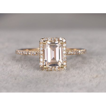 Best 1.25 Ct Moissanite and Diamond Ring with Emerald cut with 18k Gold
