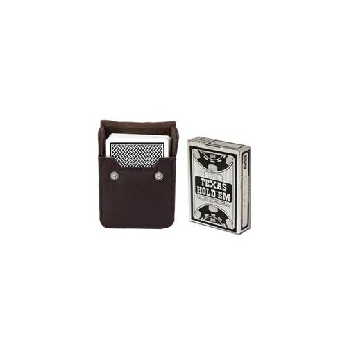 Brybelly Holdings GCOP-701. GPLA-301 Copag HoldEm Black Poker Size Peek Indx Deck w Leather Case